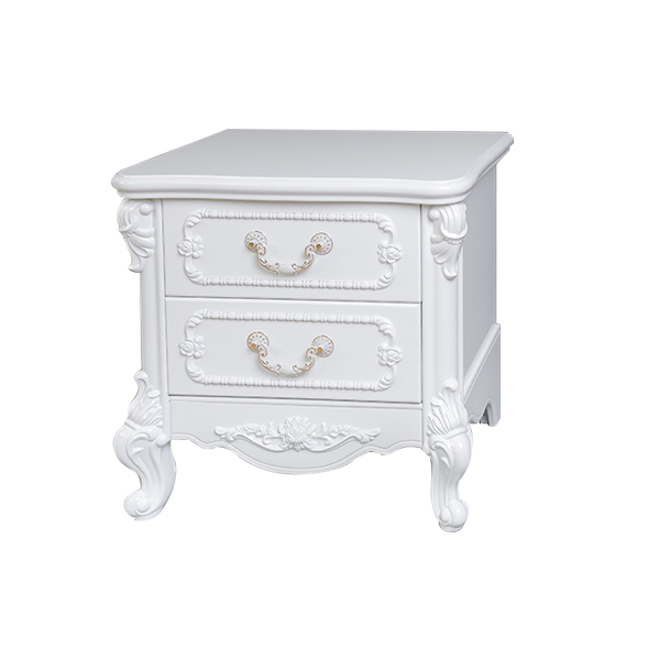 2019 hot sell french luxury wooden nightstand with 2 drawer