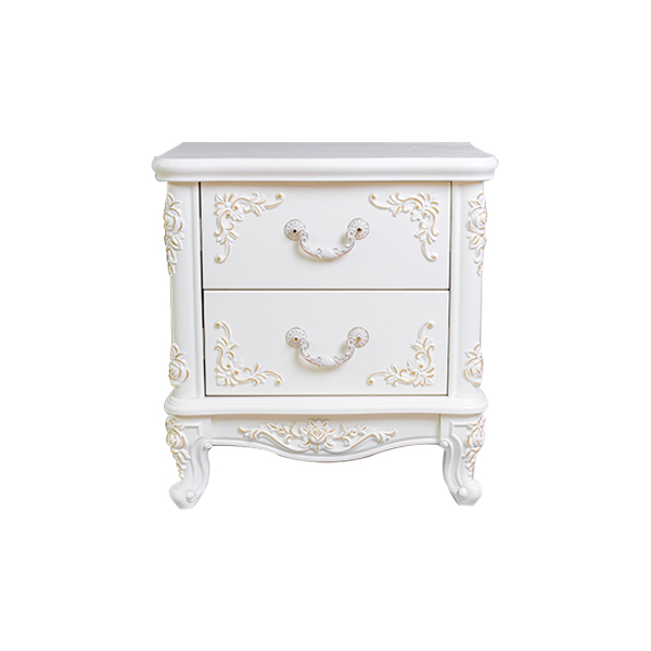 Custom french hotel white wood bedside table for bedroom