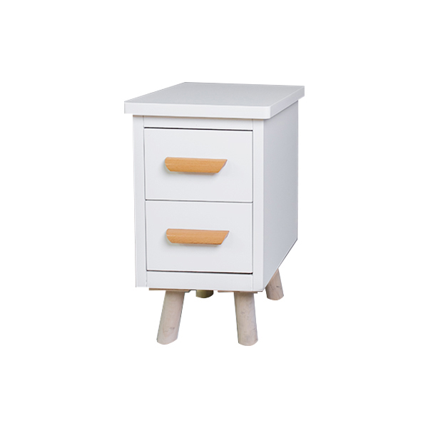 2 Drawer Pure White Wood Modern Nightstand