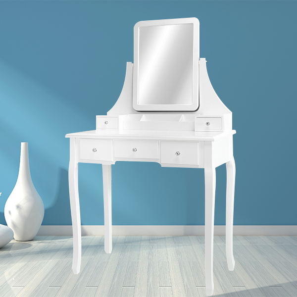 French modern wooden carving dressing table with mirror and stool