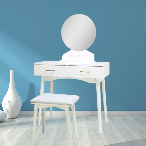 Custom size white portable wooden makeup table