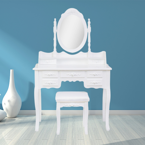 7 drawer luxury french style wooden carved dressing table with mirror adn chair