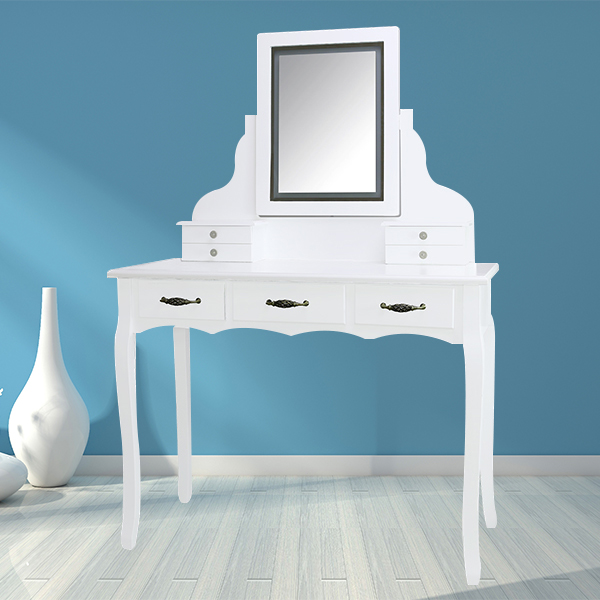 6 Drawer Dresser Luxury Mirror Makeup Wooden Dress Table With Led Light