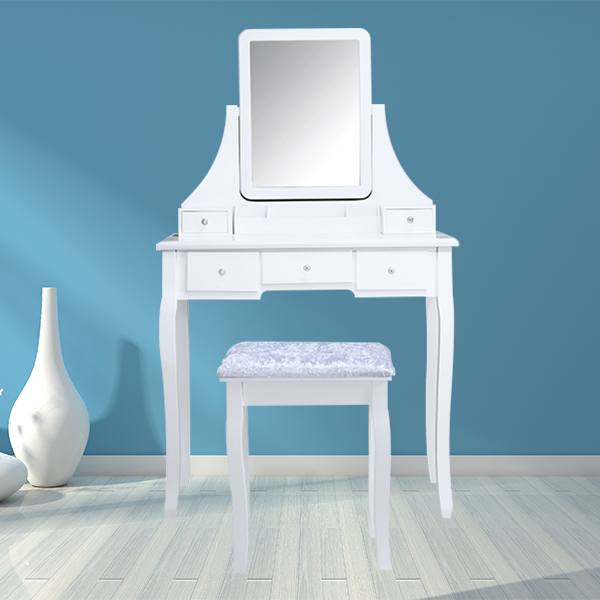 New design European beauty white wooden mirrored dresser