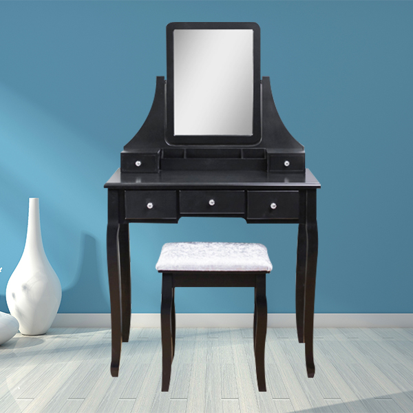 5 drawers customized size black wooden makeup vanity table