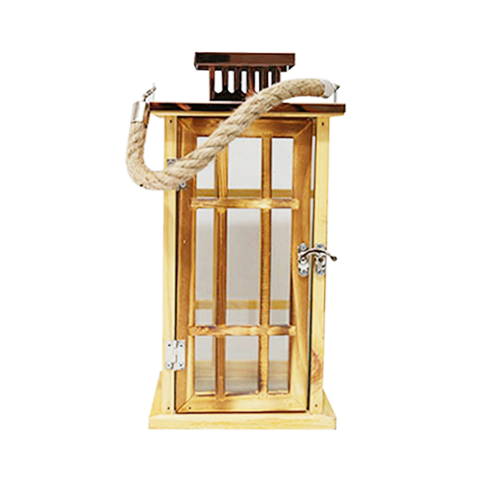 Small size metal top offwhite wooden wedding candle holder lanterns