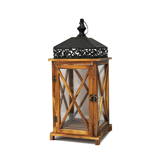 Small size metal top outdoor garden wooden lantern