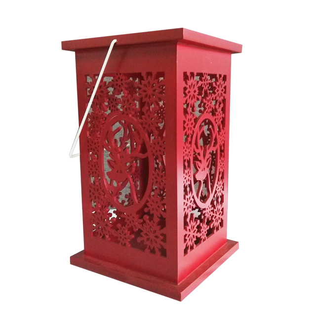Red Snowflakes Wooden Candle Holder Lantern